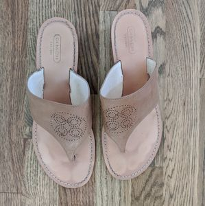 Coach Nicolette Tan Leather Wedge Sandals